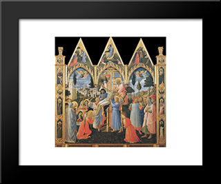 Deposition (Pala Di Santa Trinita): Modern Black Framed Art Print by Fra Angelico