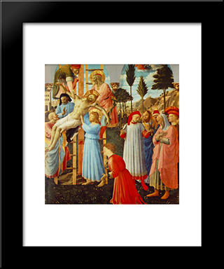 Deposition (Pala Di Santa Trinita, Detail): Modern Black Framed Art Print by Fra Angelico