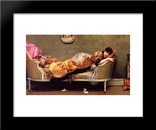 The Letter: Modern Black Framed Art Print by Julius LeBlanc Stewart