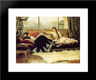 Reading Aloud: Modern Black Framed Art Print by Julius LeBlanc Stewart
