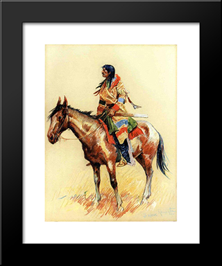 A Breed: Modern Black Framed Art Print by Frederic Remington