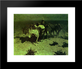 A Pack Train: Modern Black Framed Art Print by Frederic Remington