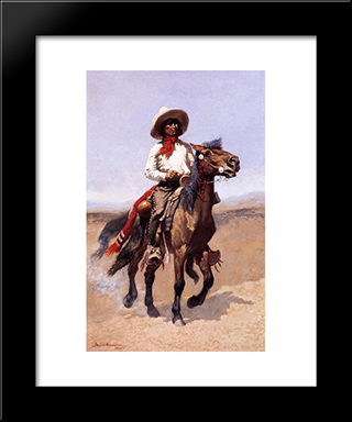 A Regimental Scout: Modern Black Framed Art Print by Frederic Remington