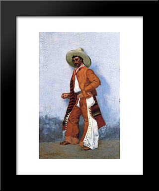 A Vaquero: Modern Black Framed Art Print by Frederic Remington