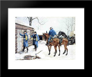 Arresting The Deserter: Modern Black Framed Art Print by Frederic Remington