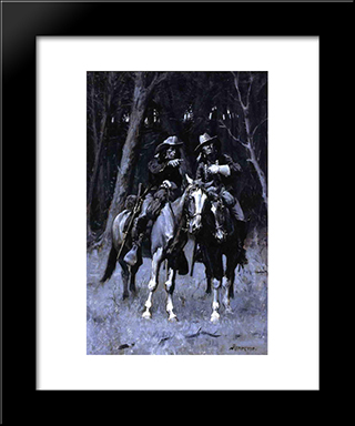 Cheyenne Scouts Patrolling The Big Timber Of The North Canadian, Oklahoma: Modern Black Framed Art Print by Frederic Remington