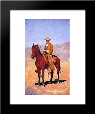 Mounted Cowboy In Chaps With Race Horse: Modern Black Framed Art Print by Frederic Remington