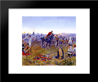 Single Handed: Modern Black Framed Art Print by Frederic Remington