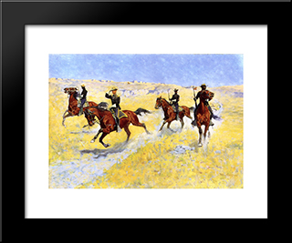 The Advance: Modern Black Framed Art Print by Frederic Remington
