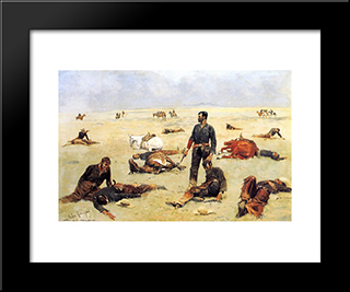 The Trooperwhat An Unbranded Cow Has Cost: Modern Black Framed Art Print by Frederic Remington