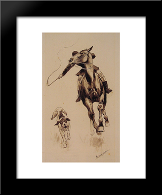 Whipping In A Straggler: Modern Black Framed Art Print by Frederic Remington