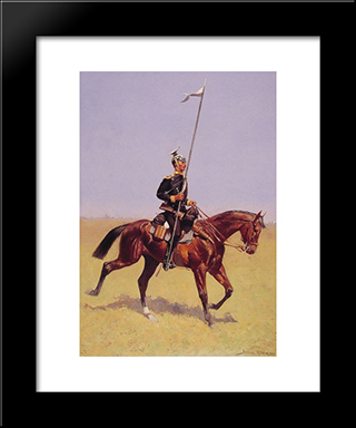 Uhlan (Lancer): Modern Black Framed Art Print by Frederic Remington