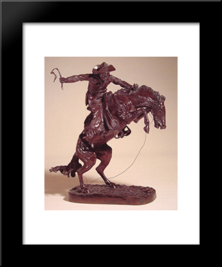 Bronco Buster: Modern Black Framed Art Print by Frederic Remington