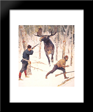 The Moose Hunt: Modern Black Framed Art Print by Frederic Remington