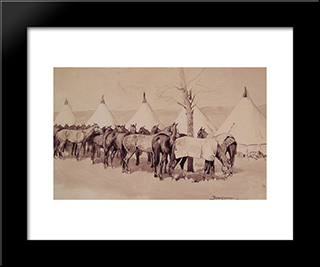 A Troop Picket Line Of The Sixth United States Cavalry Camp At Rapid Creek: Modern Black Framed Art Print by Frederic Remington