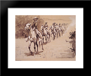 In The Desert: Modern Black Framed Art Print by Frederic Remington