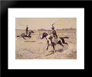 It Was To Be A Lasso Duel To The Death: Modern Black Framed Art Print by Frederic Remington