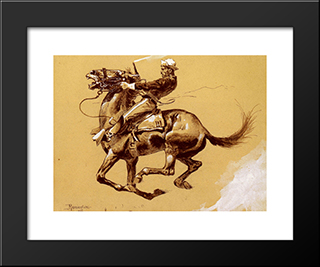 Ugly [Oh The Wild Charge He Made]: Modern Black Framed Art Print by Frederic Remington