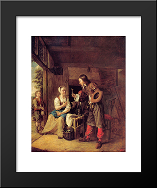 A Man Offering A Glass Of Wine To A Woman: Modern Black Framed Art Print by Pieter de Hooch