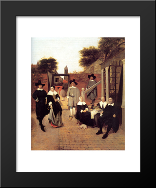 Portrait Of A Family In A Courtyard In Delft: Modern Black Framed Art Print by Pieter de Hooch
