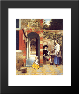 Figures Drinking In A Courtyard: Modern Black Framed Art Print by Pieter de Hooch