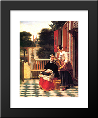 A Mistress And Her Servant: Modern Black Framed Art Print by Pieter de Hooch