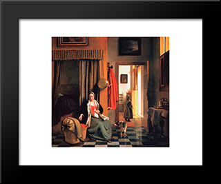 The Mother: Modern Black Framed Art Print by Pieter de Hooch