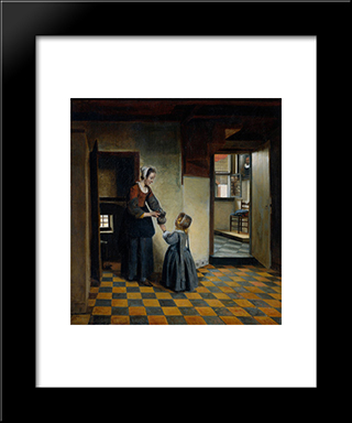 Woman With A Child In A Pantry: Modern Black Framed Art Print by Pieter de Hooch