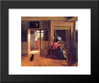 A Mother And Child With Its Head In Her Lap: Modern Black Framed Art Print by Pieter de Hooch
