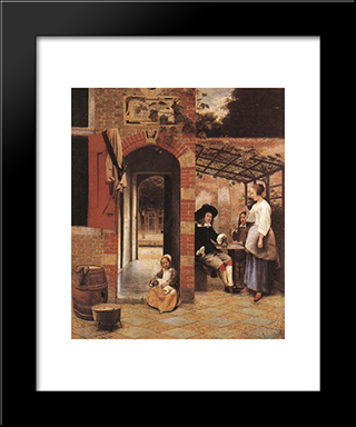 Drinkers In The Bower: Modern Black Framed Art Print by Pieter de Hooch