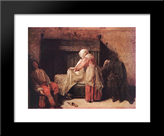 The Morning Of A Young Man: Modern Black Framed Art Print by Pieter de Hooch