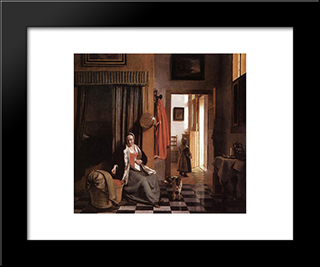 Mother Lacing Her Bodice Beside A Cradle: Modern Black Framed Art Print by Pieter de Hooch