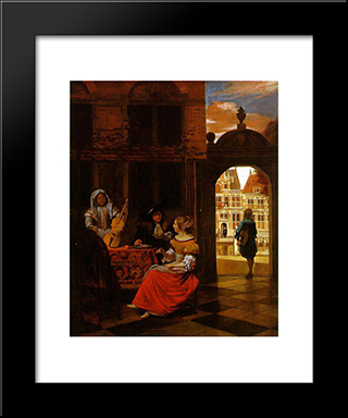 Musical Party In A Courtyard: Modern Black Framed Art Print by Pieter de Hooch