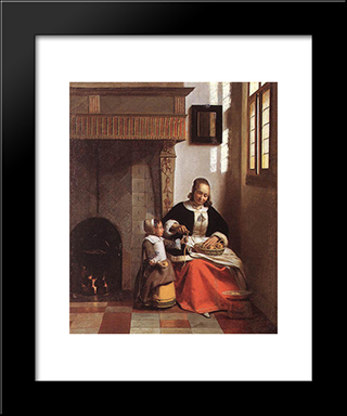 Woman Peeling Apples: Modern Black Framed Art Print by Pieter de Hooch