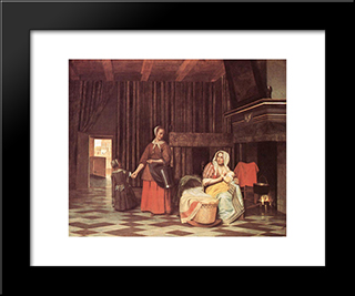 Suckling Mother And Maid: Modern Black Framed Art Print by Pieter de Hooch