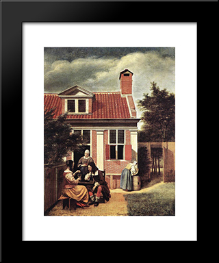 Village House: Modern Black Framed Art Print by Pieter de Hooch