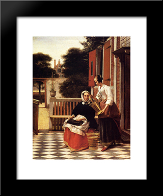 Woman And Maid: Modern Black Framed Art Print by Pieter de Hooch