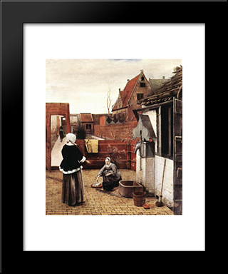 Woman And Maid In A Courtyard: Modern Black Framed Art Print by Pieter de Hooch
