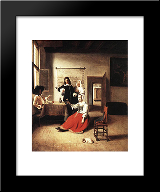 Young Woman Drinking: Modern Black Framed Art Print by Pieter de Hooch