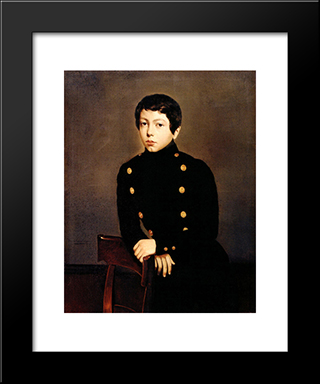 Portrait Of Ernest Chasseriau, The Painter'S Brother In The Uniform Of The Ecole Navale In Brest About The Age Of 13: Modern Black Framed Art Print by Theodore Chasseriau