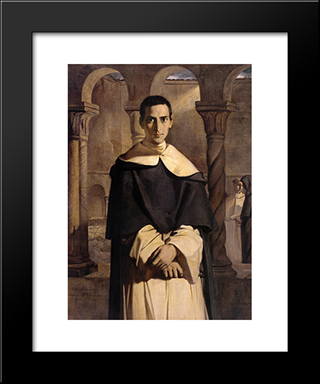 Portrait Of The Reverend Father Dominique Lacordaire, Of The Order Of The Predicant Friars: Modern Black Framed Art Print by Theodore Chasseriau