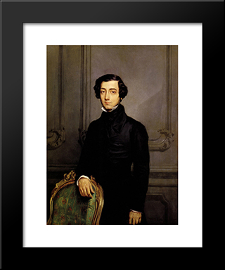 Portrait Of Alexis De Toqueville: Modern Black Framed Art Print by Theodore Chasseriau