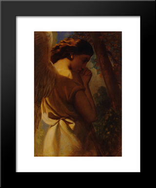 The Angel: Modern Black Framed Art Print by Theodore Chasseriau