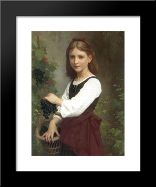 Young Girl Holding A Basket Of Grapes: Modern Black Framed Art Print by Elizabeth Jane Gardner Bouguereau