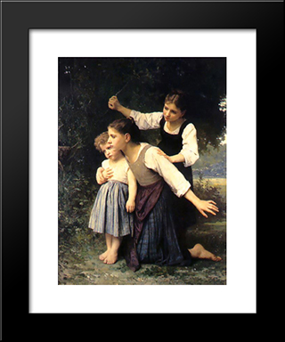 In The Woods: Modern Black Framed Art Print by Elizabeth Jane Gardner Bouguereau