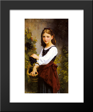 A Young Girl Holding A Basket Of Grapes: Modern Black Framed Art Print by Elizabeth Jane Gardner Bouguereau