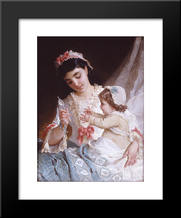 Distracting The Baby: Modern Black Framed Art Print by Emile Munier