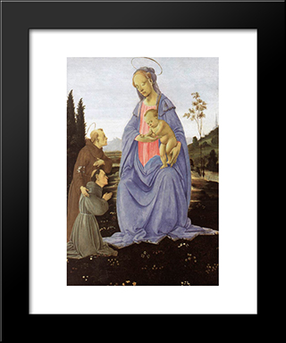 Madonna With Child, St Anthony Of Padua And A Friar: Modern Black Framed Art Print by Filippino Lippi