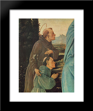 Madonna With Child, St Anthony Of Padua And A Friar [Detail: 1]: Modern Black Framed Art Print by Filippino Lippi