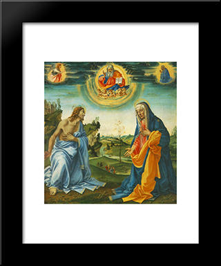 The Intervention Of Christ And Mary: Modern Black Framed Art Print by Filippino Lippi